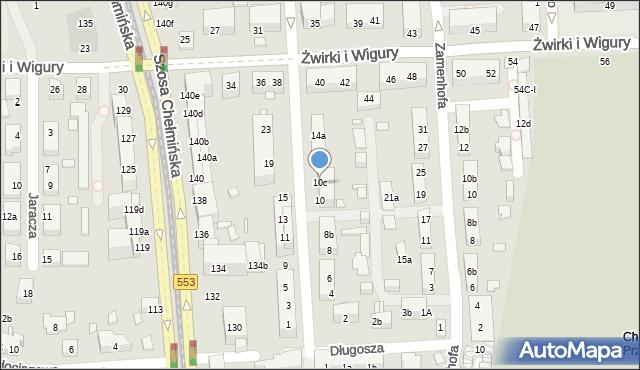 Toruń, św. Andrzeja Boboli, 10b, mapa Torunia