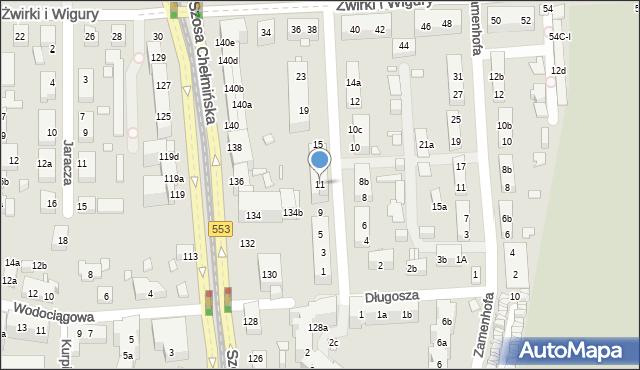 Toruń, św. Andrzeja Boboli, 11, mapa Torunia