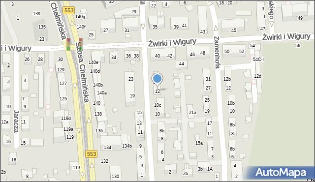 Toruń, św. Andrzeja Boboli, 12, mapa Torunia