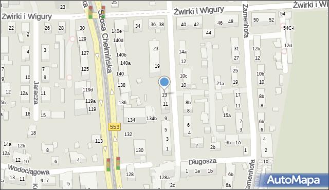 Toruń, św. Andrzeja Boboli, 13, mapa Torunia