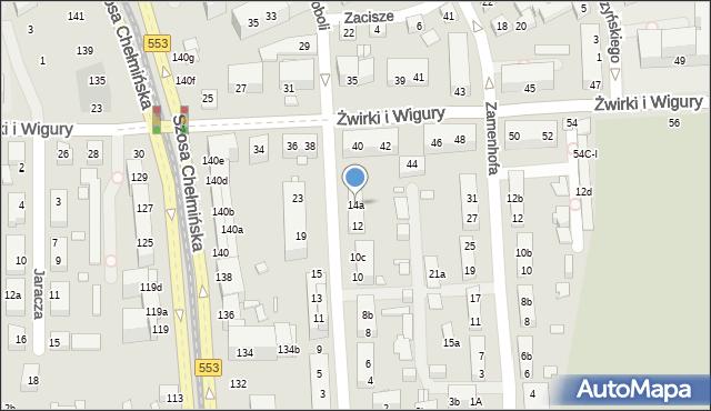 Toruń, św. Andrzeja Boboli, 14a, mapa Torunia