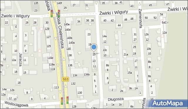 Toruń, św. Andrzeja Boboli, 15, mapa Torunia