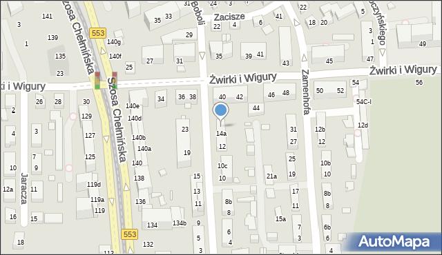 Toruń, św. Andrzeja Boboli, 16, mapa Torunia
