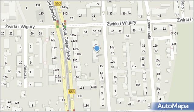 Toruń, św. Andrzeja Boboli, 19, mapa Torunia