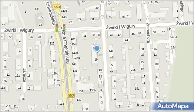 Toruń, św. Andrzeja Boboli, 21, mapa Torunia