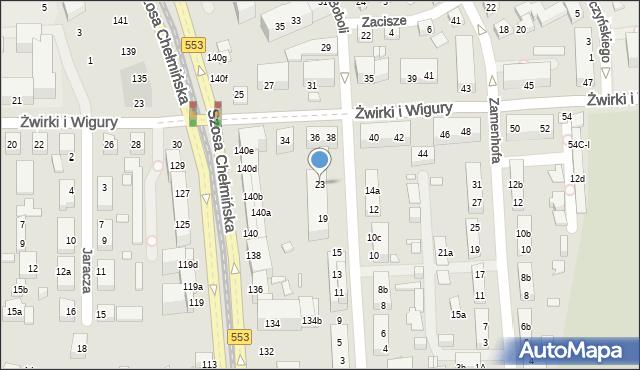 Toruń, św. Andrzeja Boboli, 23, mapa Torunia
