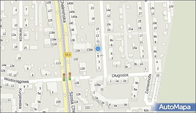 Toruń, św. Andrzeja Boboli, 5, mapa Torunia