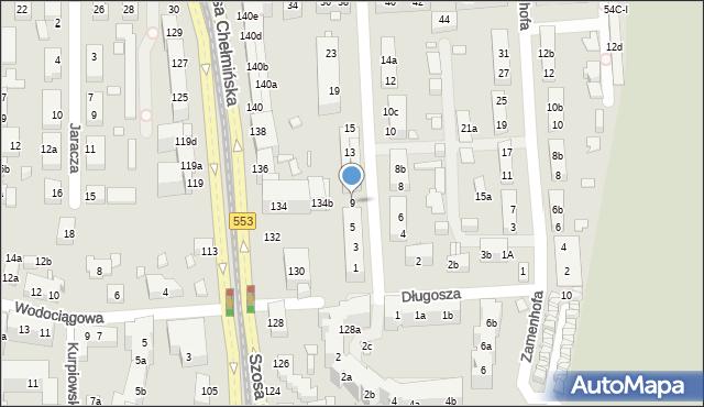 Toruń, św. Andrzeja Boboli, 9, mapa Torunia