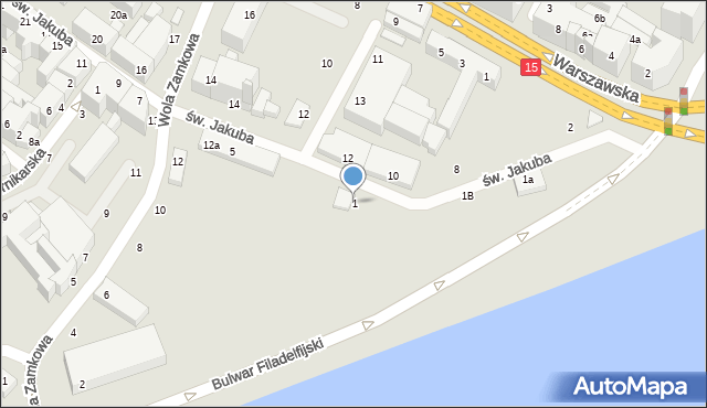 Toruń, św. Jakuba, 1, mapa Torunia