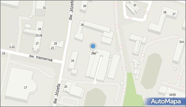 Toruń, św. Józefa, 26a, mapa Torunia