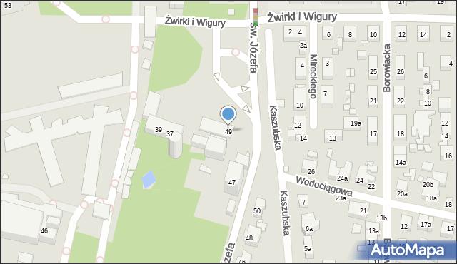 Toruń, św. Józefa, 49, mapa Torunia