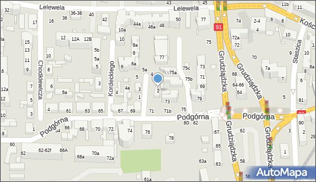 Toruń, św. Mikołaja, 2, mapa Torunia
