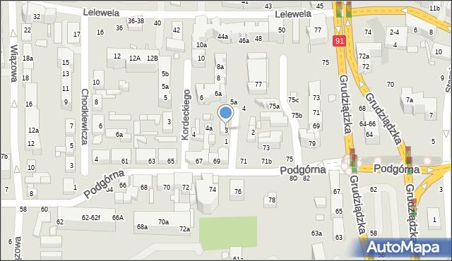 Toruń, św. Mikołaja, 3, mapa Torunia