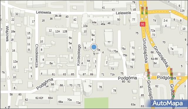 Toruń, św. Mikołaja, 5, mapa Torunia