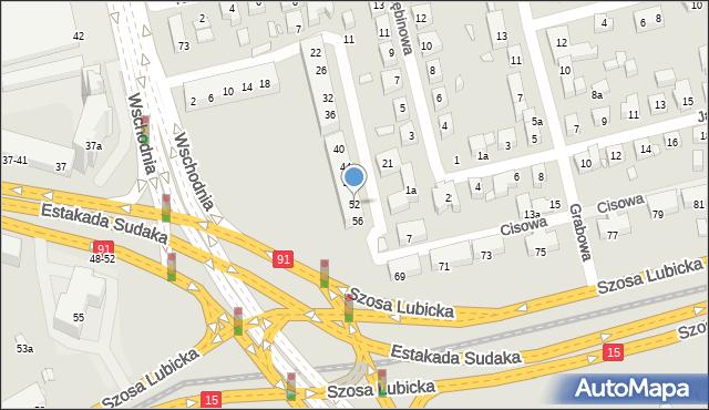 Toruń, Świerkowa, 52, mapa Torunia