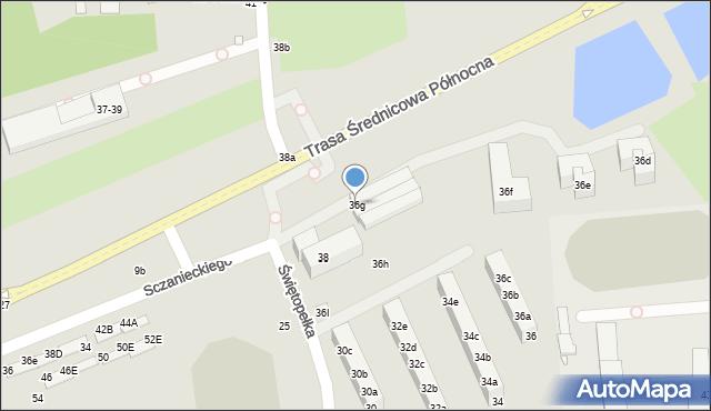 Toruń, Świętopełka, 36g, mapa Torunia