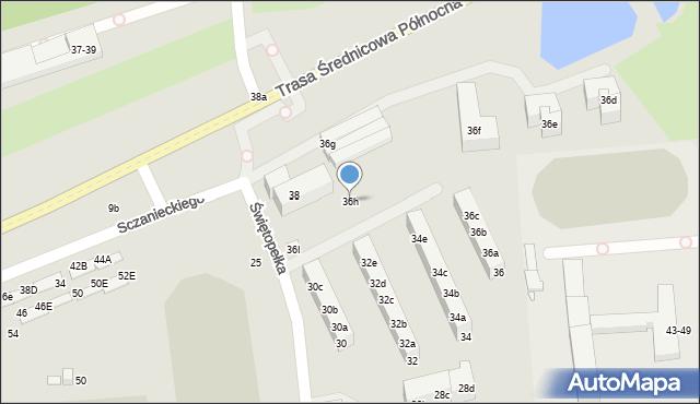 Toruń, Świętopełka, 36h, mapa Torunia
