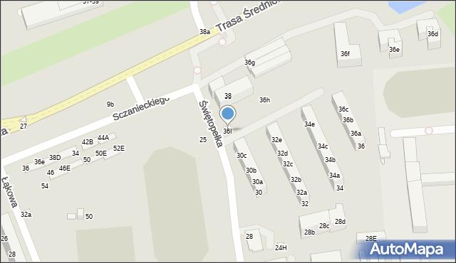 Toruń, Świętopełka, 36I, mapa Torunia
