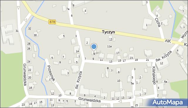 Tyczyn, św. Krzyża, 9, mapa Tyczyn