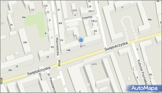 Warszawa, Świętokrzyska, 14, mapa Warszawy