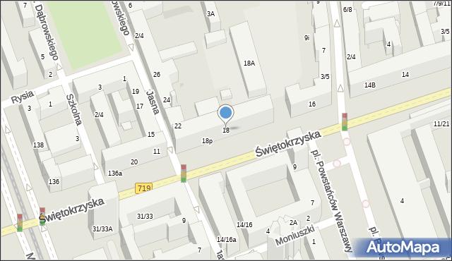 Warszawa, Świętokrzyska, 18, mapa Warszawy
