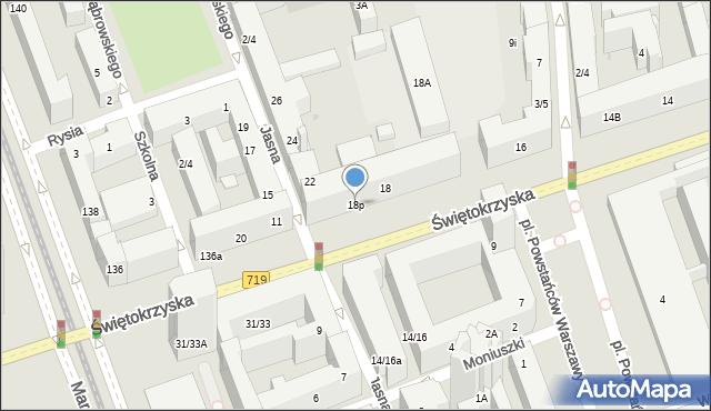 Warszawa, Świętokrzyska, 18p, mapa Warszawy