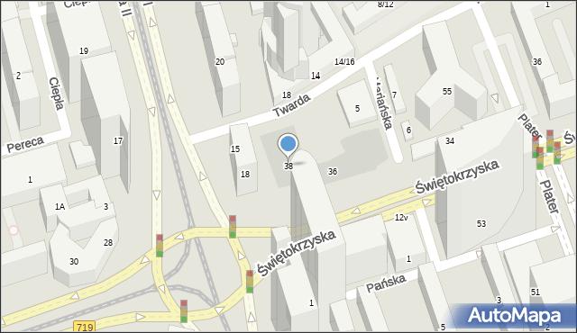 Warszawa, Świętokrzyska, 38, mapa Warszawy