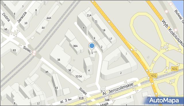 Warszawa, św. Franciszka Salezego, 1, mapa Warszawy