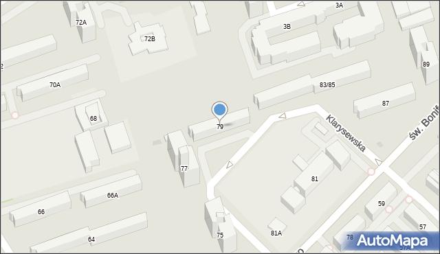 Warszawa, św. Bonifacego, 79, mapa Warszawy