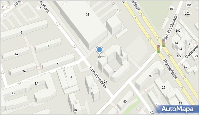 Warszawa, św. Bonifacego, 93, mapa Warszawy