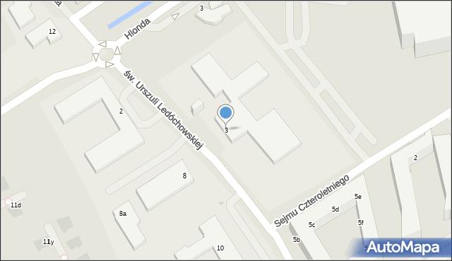 Warszawa, św. Urszuli Ledóchowskiej, 3, mapa Warszawy
