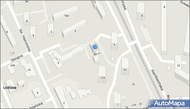 Warszawa, św. Hieronima, 4A, mapa Warszawy
