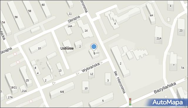 Warszawa, św. Hieronima, 5, mapa Warszawy