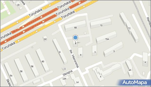 Warszawa, św. Hieronima, 8, mapa Warszawy