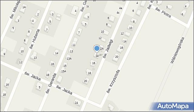 Wilkszyn, św. Jadwigi, 14, mapa Wilkszyn