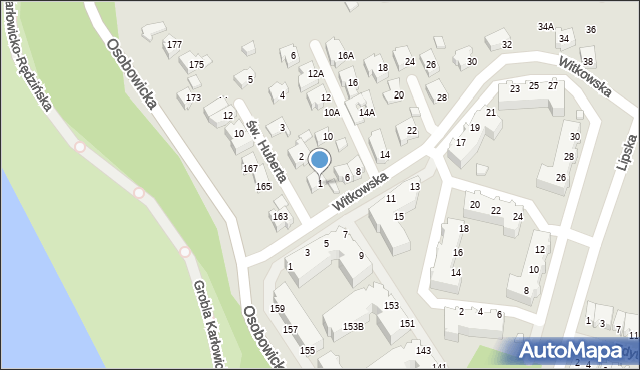 Wrocław, św. Huberta, 1, mapa Wrocławia
