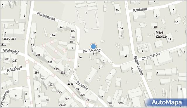 Zabrze, św. Andrzeja Boboli, 1, mapa Zabrza