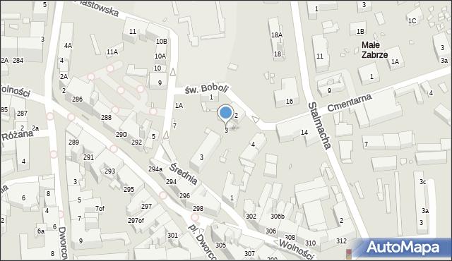 Zabrze, św. Andrzeja Boboli, 3, mapa Zabrza