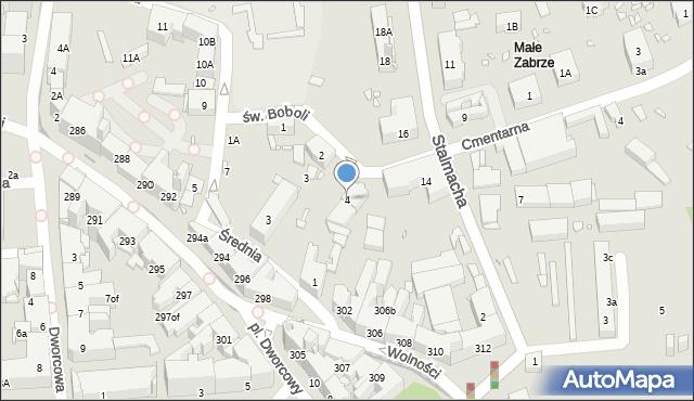 Zabrze, św. Andrzeja Boboli, 4, mapa Zabrza