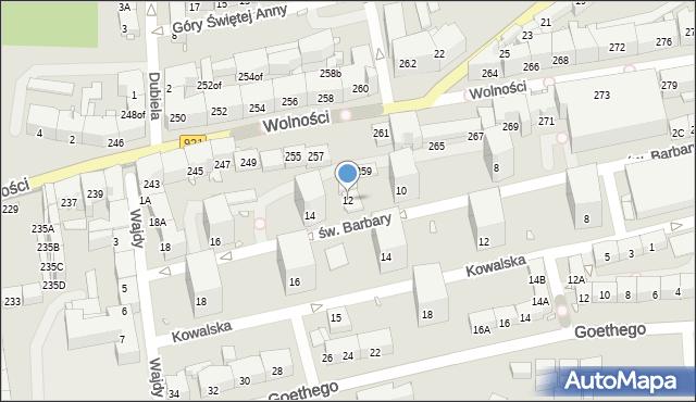 Zabrze, św. Barbary, 12, mapa Zabrza