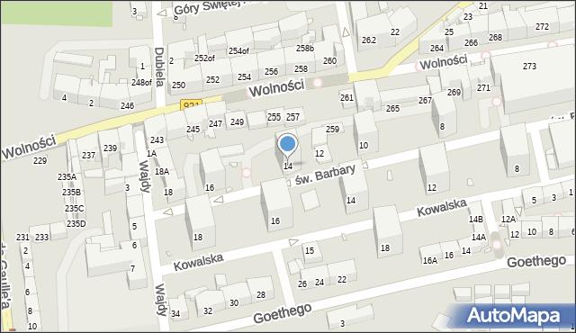 Zabrze, św. Barbary, 14, mapa Zabrza