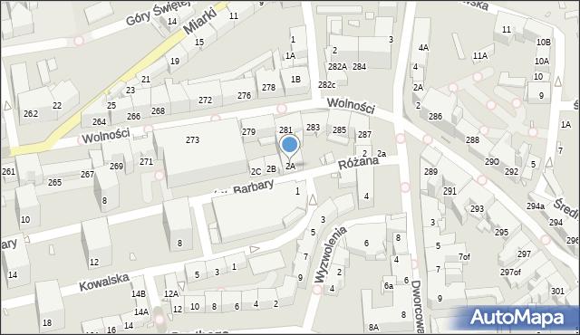 Zabrze, św. Barbary, 2A, mapa Zabrza