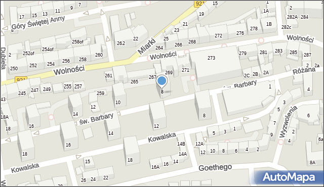 Zabrze, św. Barbary, 8, mapa Zabrza
