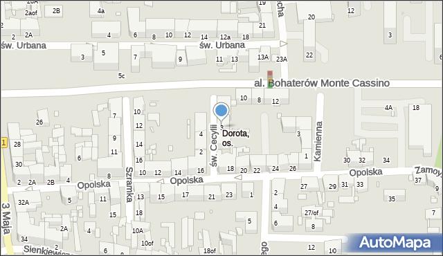 Zabrze, św. Cecylii, 3, mapa Zabrza