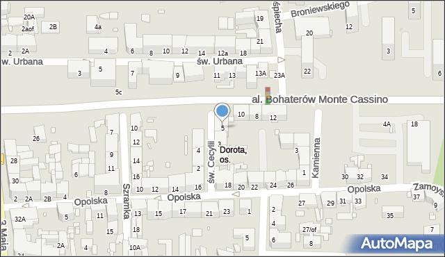 Zabrze, św. Cecylii, 5, mapa Zabrza
