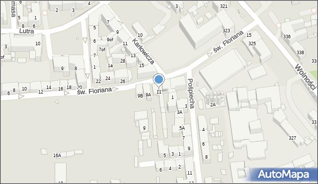 Zabrze, św. Floriana, 11, mapa Zabrza