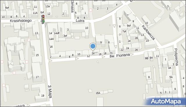 Zabrze, św. Floriana, 14, mapa Zabrza