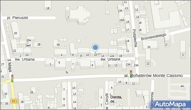 Zabrze, św. Urbana, 12, mapa Zabrza