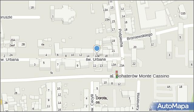 Zabrze, św. Urbana, 12a, mapa Zabrza