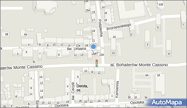 Zabrze, św. Urbana, 13A, mapa Zabrza